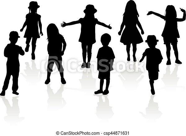 Vector silhouette of children on white background. - csp44871631