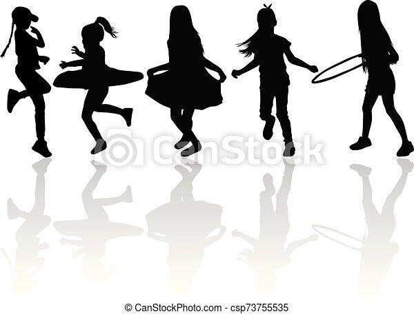 Vector silhouette of children on white background. - csp73755535
