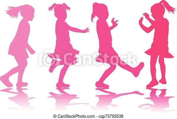 Vector silhouette of children on white background. - csp73755538