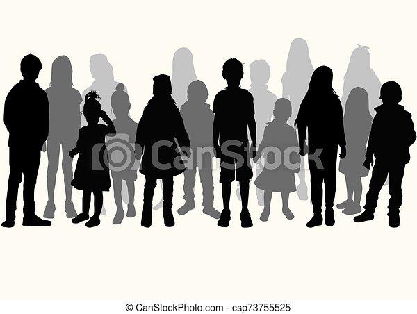 Vector silhouette of children on white background. - csp73755525