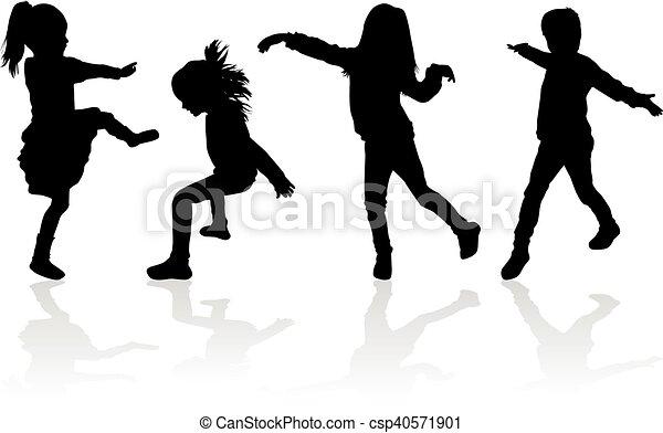 Vector silhouette of children on white background. - csp40571901