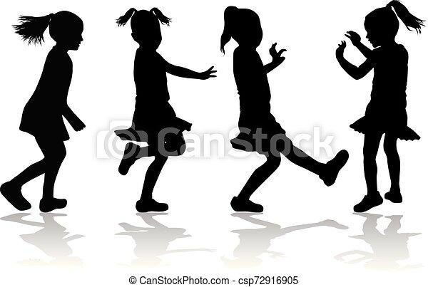 Vector silhouette of children on white background. - csp72916905