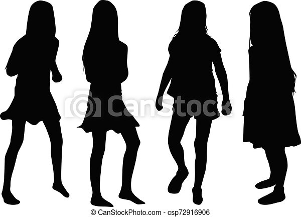 Vector silhouette of children on white background. - csp72916906