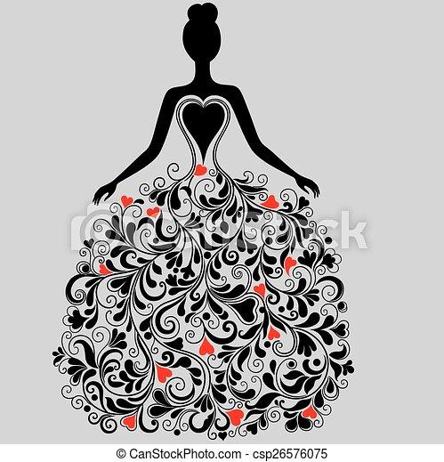 Vector silhouette of elegant dress  - csp26576075