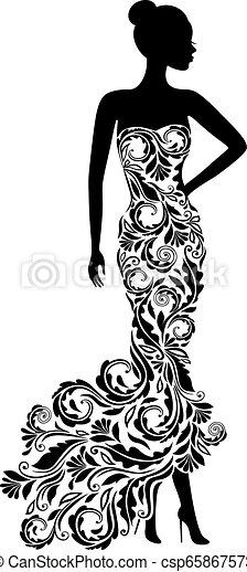 Vector silhouette of elegant wedding dress - csp65867573