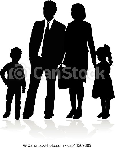 Vector silhouette of family. White background. - csp44369309