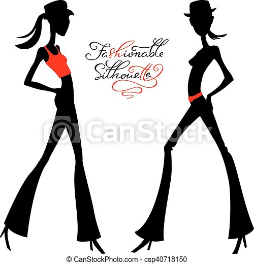 Vector silhouette of fashion girls top models - csp40718150