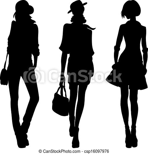 Vector silhouette of fashion girls top models  - csp16097976