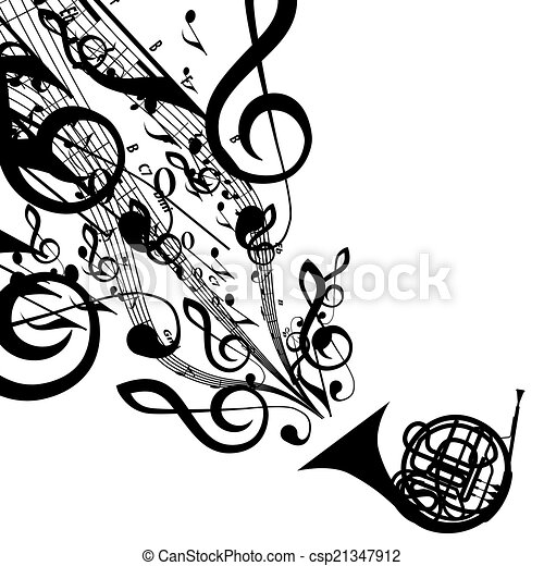 Vector Silhouette of French Horn with Musical Symbols - csp21347912