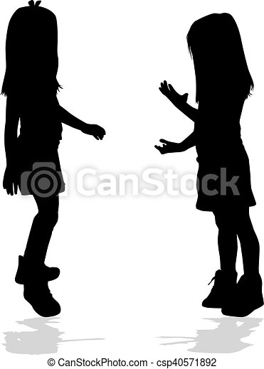 Vector silhouette of girl on a white background. - csp40571892