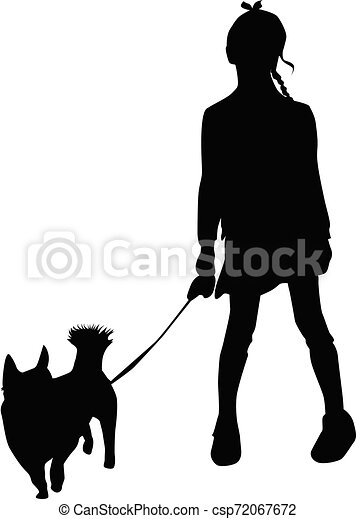 Vector silhouette of girl on white background. - csp72067672