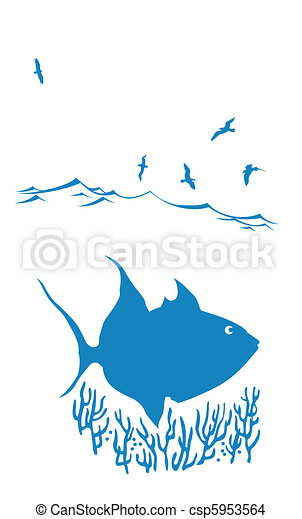 vector silhouette of sea fish on white background - csp5953564
