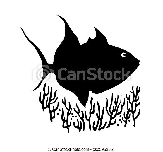 vector silhouette of sea fish on white background - csp5953551