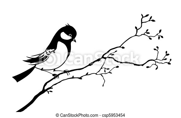 vector silhouette of the bird on branch tree - csp5953454