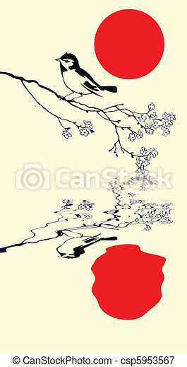 vector silhouette of the bird on branch tree - csp5953567