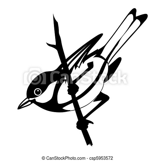 vector silhouette of the bird on white background - csp5953572