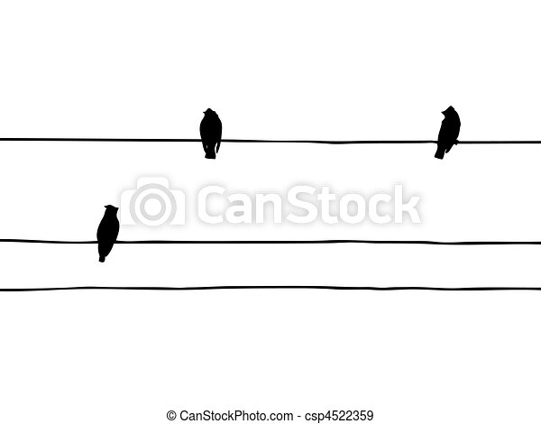 vector silhouette of the birds of the waxwings on wire - csp4522359