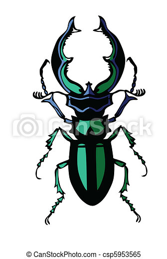 vector silhouette of the bug on white background - csp5953565