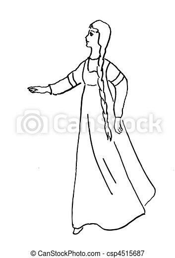 vector silhouette of the girl on white background - csp4515687