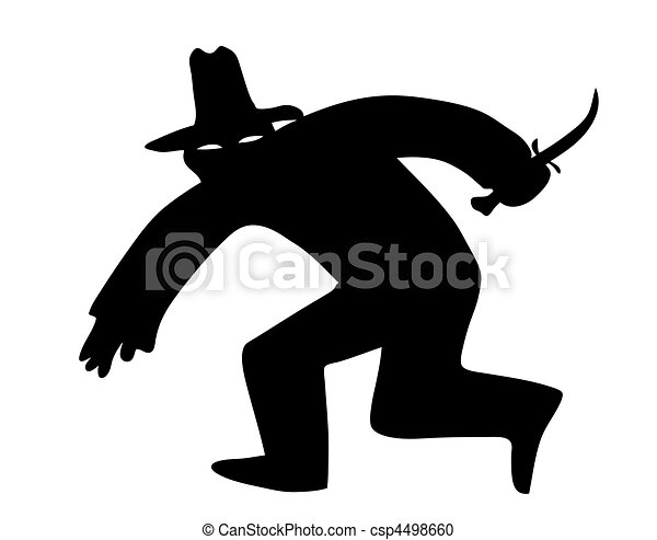 vector silhouette of the thief in mask on white background - csp4498660