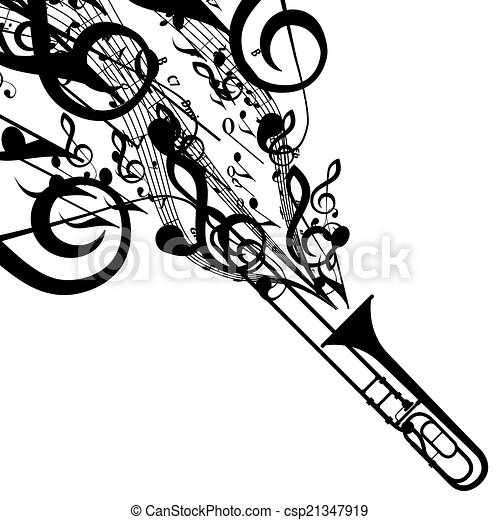 Vector silhouette of trombone with musical symbols ...  Vector silhouet...