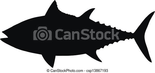 Vector silhouette of tuna. - csp13867193