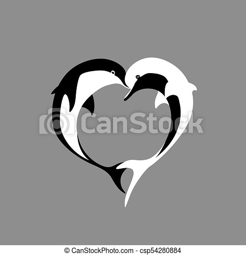 Vector Silhouette Of Two Black And White Dolphin Couple In Love With Shape Heart Greeting Card