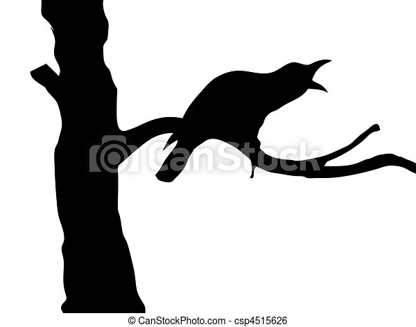 vector silhouette ravens on branch tree - csp4515626