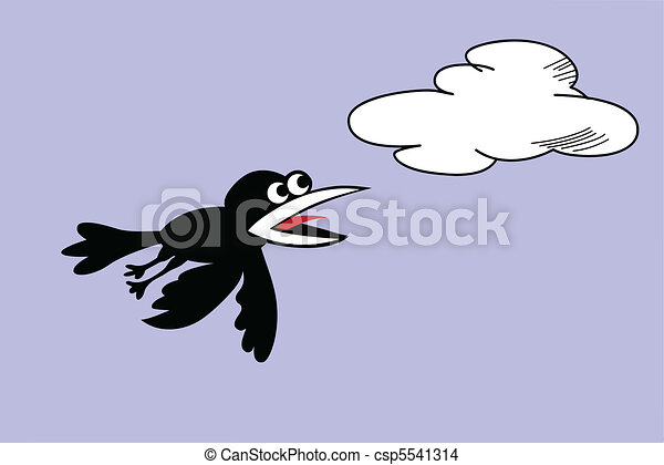 vector silhouette ravens on cloudy background - csp5541314