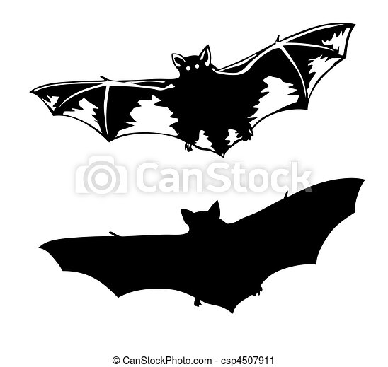 vector silhouette to bat on white background - csp4507911