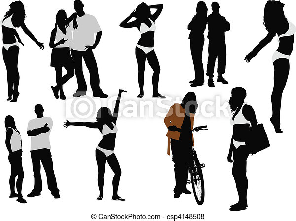 Vector Silhouettes Hombres Mujeres Vector Silhouettes