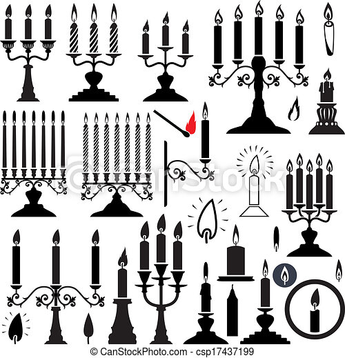 vector silhouettes of candlesticks and candles - csp17437199