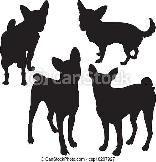 vector silhouettes of dogs in the rack - csp16207927