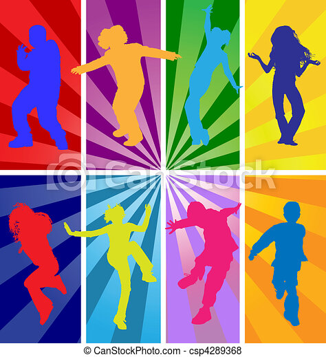 Vector silhouettes of jumping kids - csp4289368