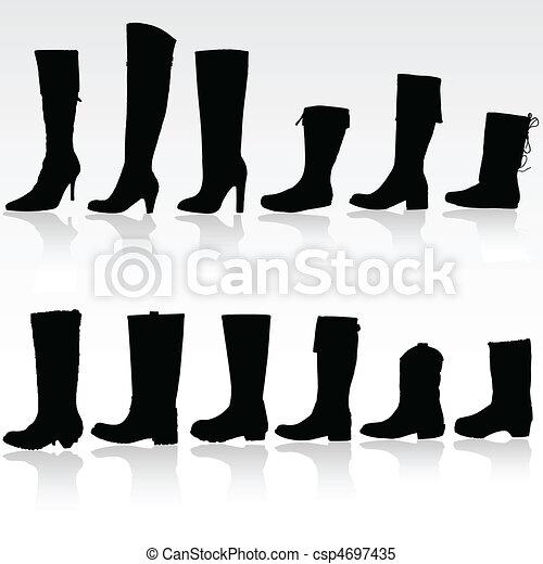 Boots vector silueta - csp4697435