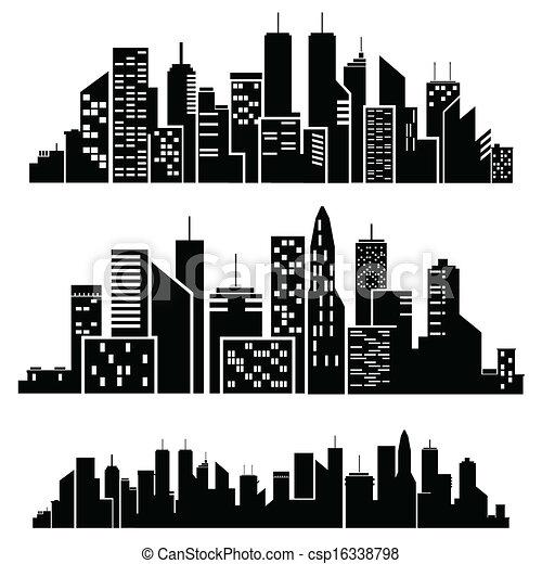 Ciudades Vectores silueta - csp16338798