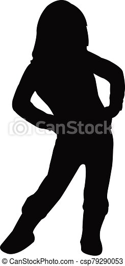 vector, silueta, cuerpo, niña - csp79290053