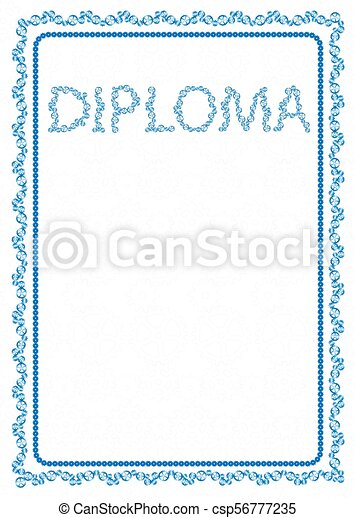 Vector Simple Blue Frame Border With Gear Wheels For Diploma Certificate