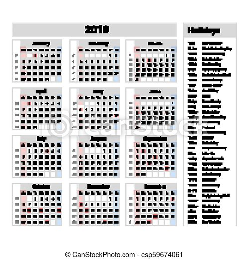 vector simple calendar 2019 one year at a glance starts monday with public holidays for the usa