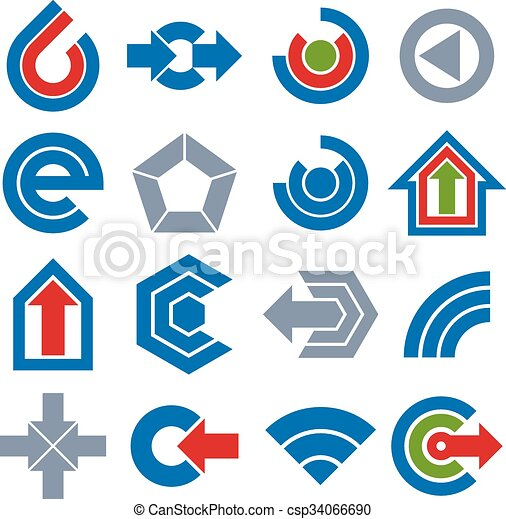 Vector simple navigation pictograms collection. Set of blue corporate abstract design elements. Arrows and circular web icons. - csp34066690