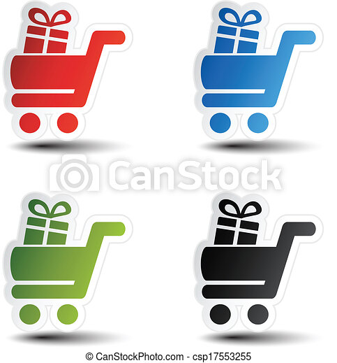 Vector simple shopping cart, trolley with gift, item, button - csp17553255