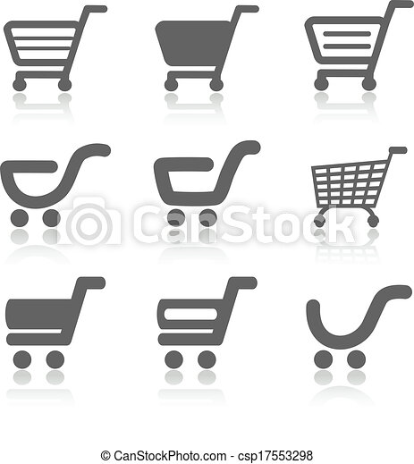 Vector simple shopping cart, trolley with shadow, item, button - csp17553298