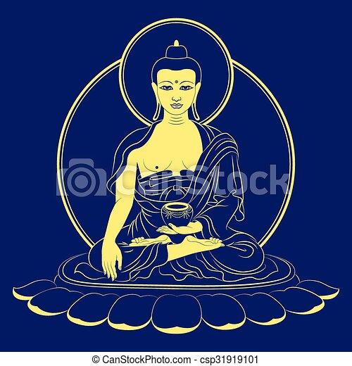Vector Sitting Buddha Shakyamuni