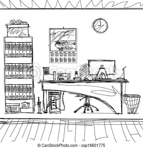 vector sketch background with interior vector office interior