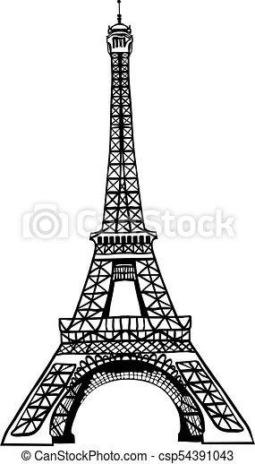 Vector Sketch Black Eifel Tower Hand Drawn Landmark Symbol Of Paris