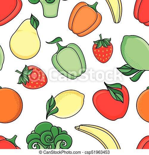 Vector Sketch Fresh Fruits Vegetables Pattern Vector Flat Sketch