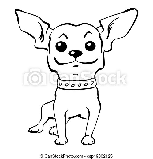 Vector sketch funny chihuahua dog sitting - csp49802125