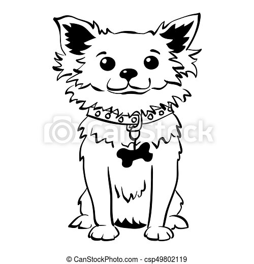 Vector sketch funny chihuahua dog sitting - csp49802119