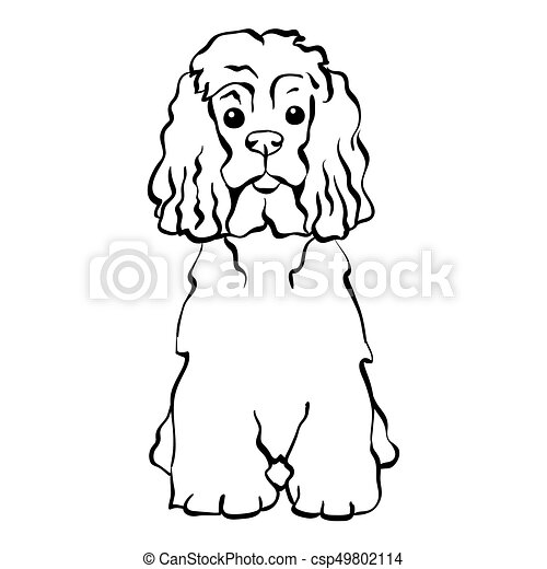 Vector sketch funny dog sitting - csp49802114