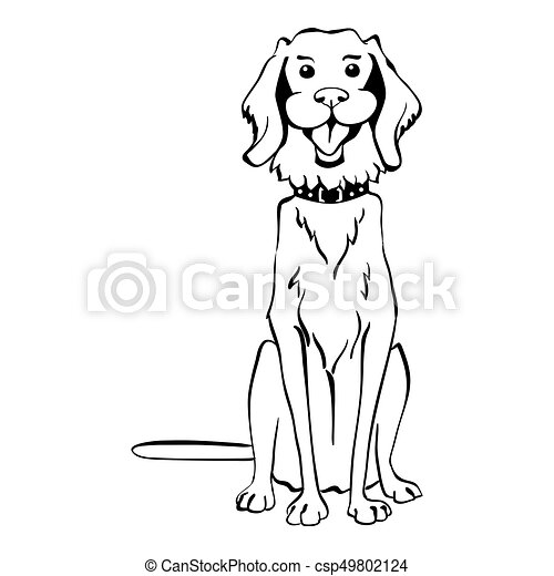 Vector sketch funny Golden Retriever dog sitting - csp49802124